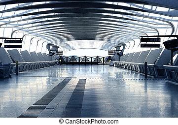modernos, corredor, arquitetura
