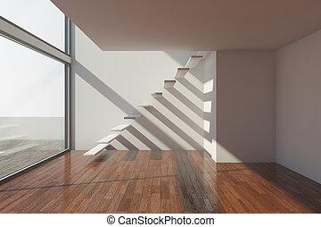 modernos, corredor, vazio