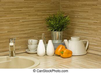 modernos, cozinha, detalhe
