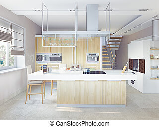 modernos, cozinha, interior, (cg, concept)