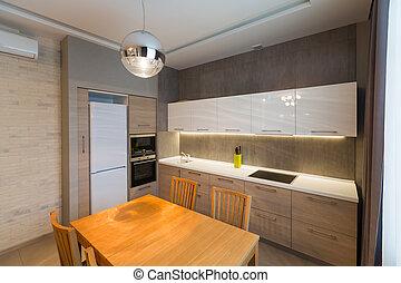 modernos, cozinha, interior, em, novo, repouso luxuoso, apartamento
