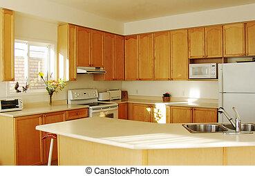 modernos, cozinha lar, interior