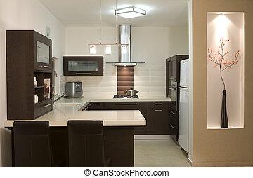 modernos, desenho, cozinha