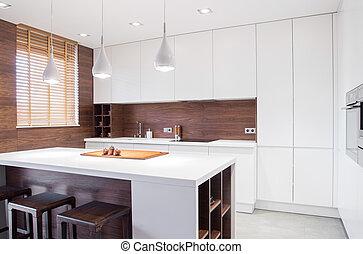 modernos, desenho, cozinha, interior