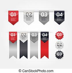 modernos, desenho, etiquetas, /, lata, ser, usado, para, infographics, /, numerado, bandeiras, /, gráfico, ou, site web, esquema, vector/horizontal