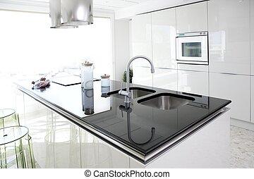 modernos, desenho, limpo, interior, branca, cozinha