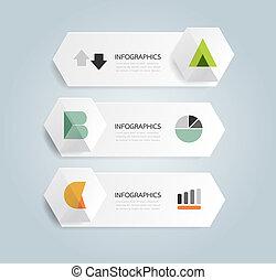 modernos, desenho, mínimo, estilo, infographic, modelo, com,...