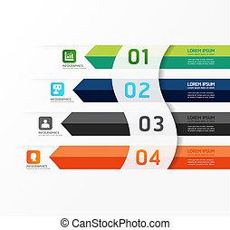 modernos, desenho, mínimo, estilo, infographic, modelo, /, lata, ser, usado, para, infographics, /, numerado, bandeiras, /, horizontais, cutout, linhas, /, gráfico, ou, site web, esquema, vetorial