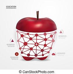 modernos, desenho, maçã, ponto, mínimo, estilo, infographic,...