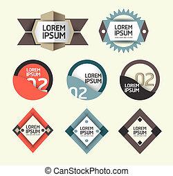 modernos, desenho, modernos, etiquetas, /, lata, ser, usado, para, infographics, /, numerado, bandeiras, /, gráfico, ou, site web, esquema, vector/horizontal