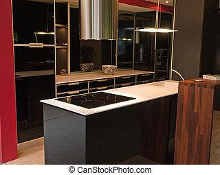 modernos, desenho, trendy, pretas, branca, cozinha
