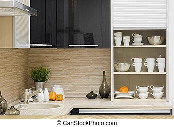 modernos, detalhe, cozinha