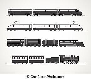 modernos, e, vindima, trem, silueta, cobrança