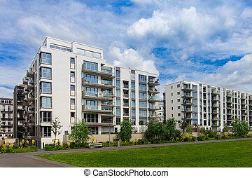 modernos, edifício apartamento, exterior