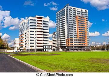 modernos, edifícios apartamento