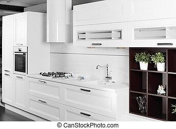 modernos, elegante, mobília, cozinha, branca
