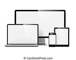 modernos, eletrônico, dispositivos, isolado, ligado, white.