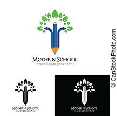 modernos, escola, logotipo, modelo
