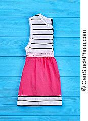 modernos, estilo, bebê, algodão, dress.