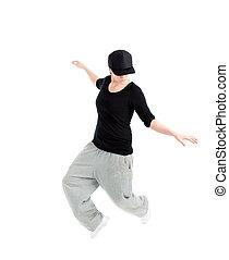 modernos, estilo, dançarino, posar