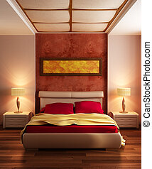 modernos, estilo, quarto, interior, 3d, fazendo