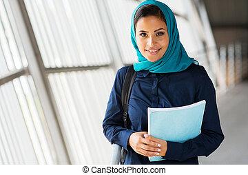 modernos, femininas, meio oriental, estudante universitário