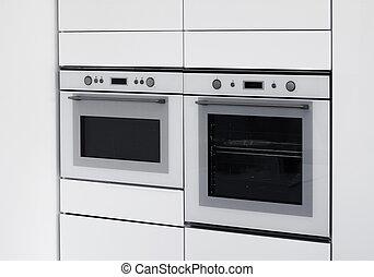 modernos, fornos, integrada, cozinha