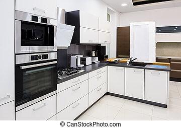 modernos, hi-tek, cozinha, limpo, projeto interior