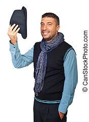 modernos, homem, saudação, com, chapéu, desligado