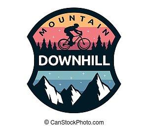 modernos, ilustração, bicicleta, logotipo, emblema, declive
