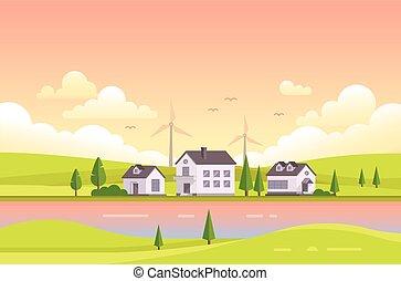 modernos, -, ilustração, casas, vetorial, pôr do sol, pequeno, durante, rio
