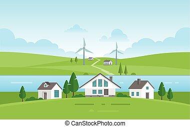 modernos, -, ilustração, casas, vetorial, pequeno, rio