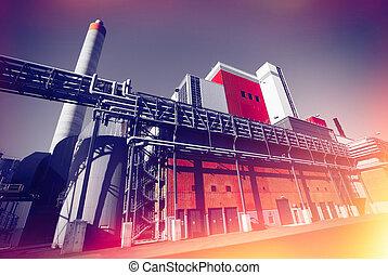 modernos, industrial, fábrica, contra, céu azul