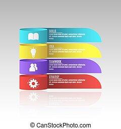 modernos, infographics, para, negócio, projects., um, diagrama, mostrar, seu, work., negócio, strategy., realístico, papel, tapes., vetorial, ilustração, em, um, apartamento, estilo