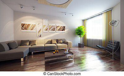 modernos, interior, 3d, render