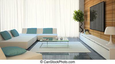 modernos, interior, com, branca, sofás, e, tv