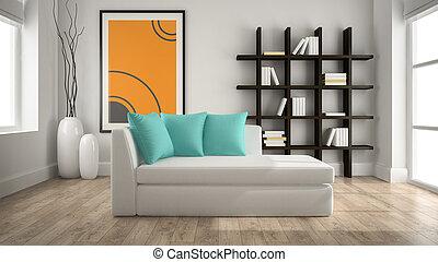 modernos, interior, com, sofá, 3d, fazendo