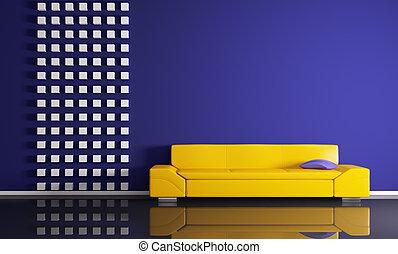 modernos, interior, com, sofá, 3d, render