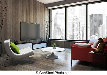 modernos, interior, com, vermelho, sofá, 3d, fazendo