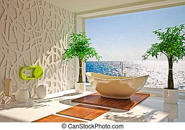 modernos, interior, de, banheiro