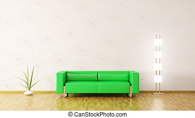 modernos, interior, de, sala, 3d, render