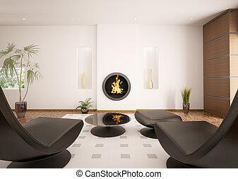 modernos, interior, de, sala de estar, com, lareira, 3d, render