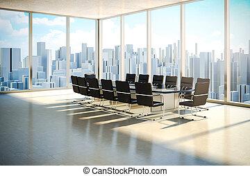 modernos, interior escritório, com, bonito, verme, luz dia, e, horizonte cidade, em, a, fundo