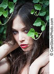 modernos, jovem, caucasiano, mulher, beleza, retrato, ao ar livre