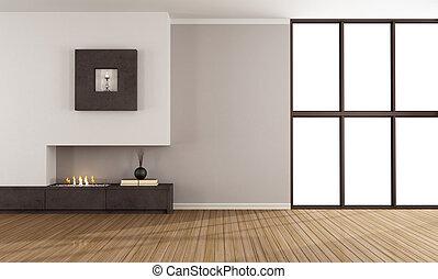 modernos, lareira, sala, vazio