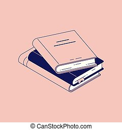 modernos, livros, pilha, hardcover, papel, desenho, bookmarks., mentindo
