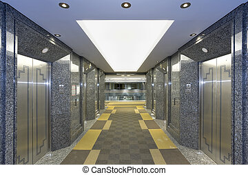 modernos, lobby, elevador