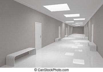 modernos, longo, corredor