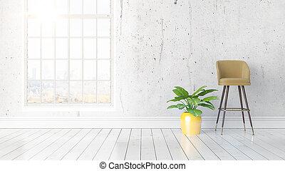 modernos, luminoso, grande, fazendo, janela, interior, 3d