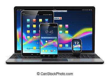 modernos, móvel, dispositivos